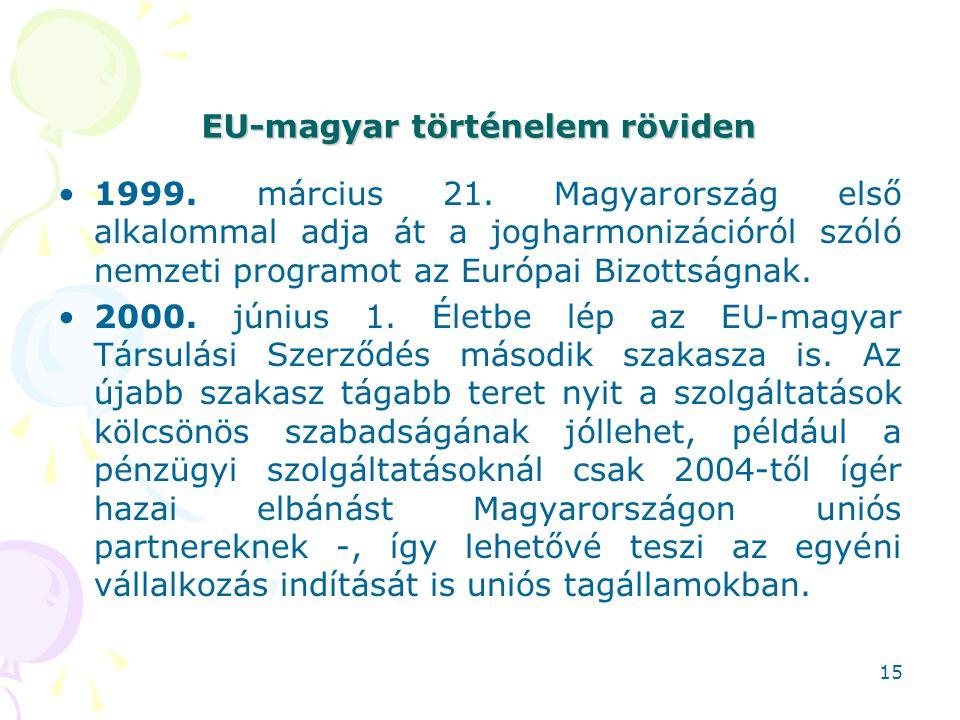 EU-magyar történelem röviden 1999. március 21. Magyarország első alkalommal adja át a jogharmonizációról szóló nemzeti programot az Európai Bizottságn