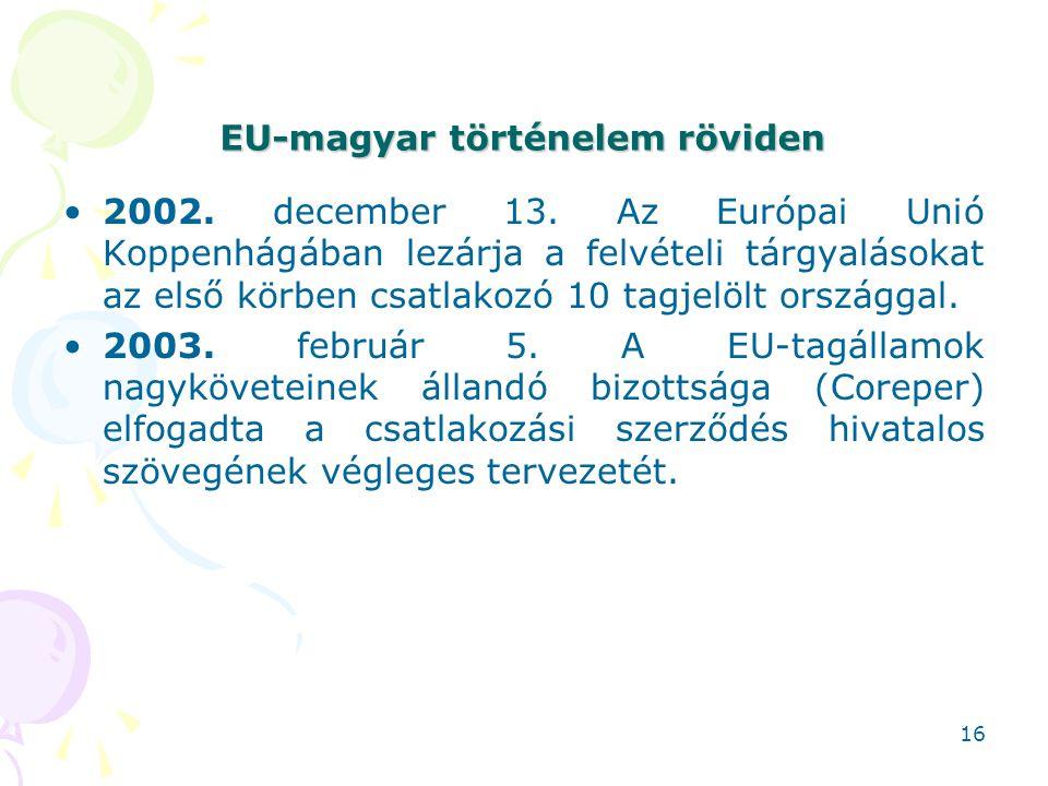 EU-magyar történelem röviden 2002. december 13. Az Európai Unió Koppenhágában lezárja a felvételi tárgyalásokat az első körben csatlakozó 10 tagjelölt