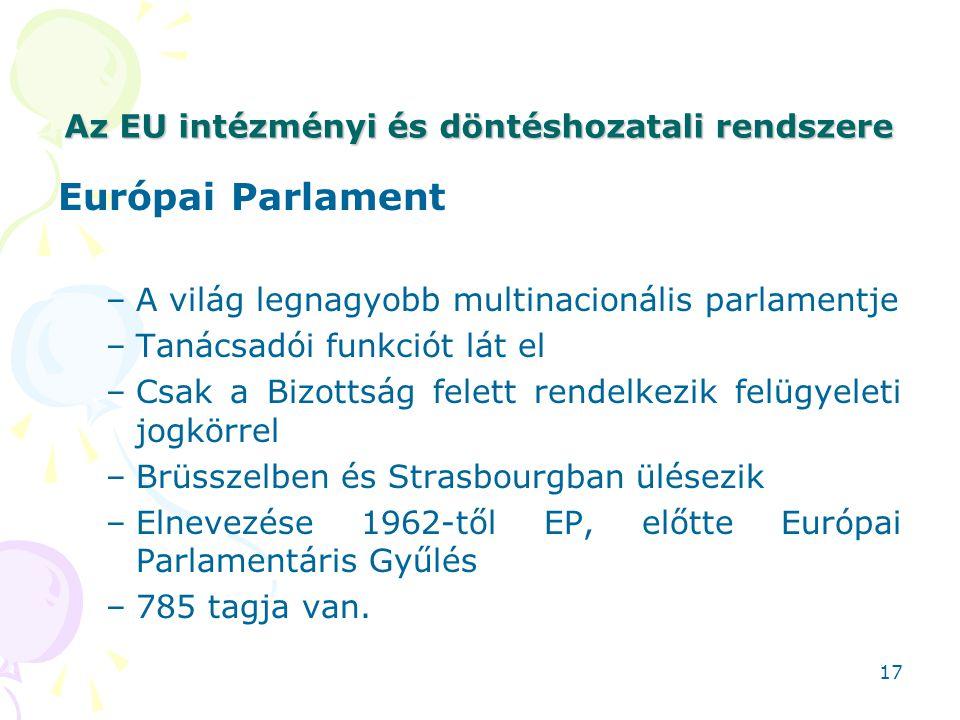 Az EU intézményi és döntéshozatali rendszere Európai Parlament –A világ legnagyobb multinacionális parlamentje –Tanácsadói funkciót lát el –Csak a Biz