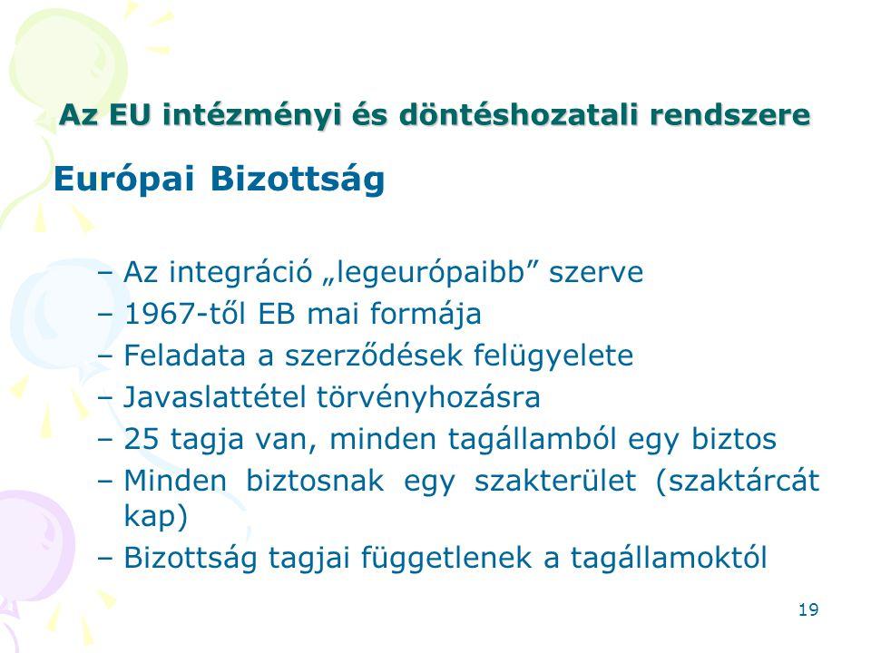 """Az EU intézményi és döntéshozatali rendszere Európai Bizottság –Az integráció """"legeurópaibb"""" szerve –1967-től EB mai formája –Feladata a szerződések f"""