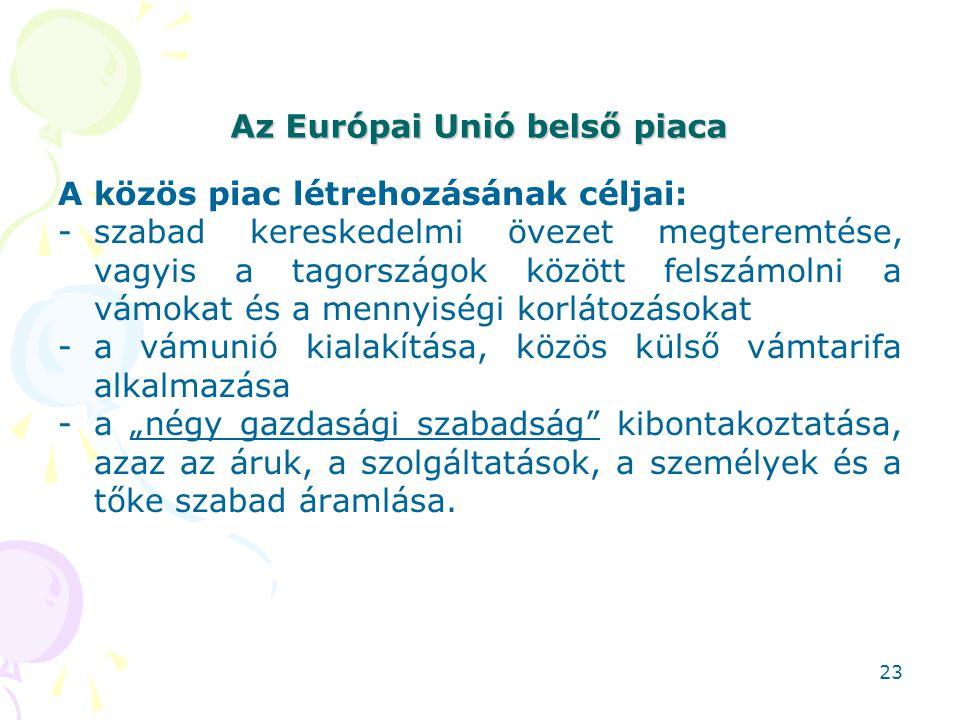 Az Európai Unió belső piaca A közös piac létrehozásának céljai: -szabad kereskedelmi övezet megteremtése, vagyis a tagországok között felszámolni a vá