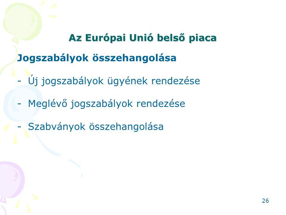 Az Európai Unió belső piaca Jogszabályok összehangolása -Új jogszabályok ügyének rendezése -Meglévő jogszabályok rendezése -Szabványok összehangolása