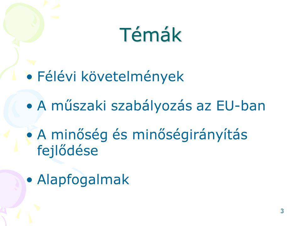 Témák Félévi követelmények A műszaki szabályozás az EU-ban A minőség és minőségirányítás fejlődése Alapfogalmak 3