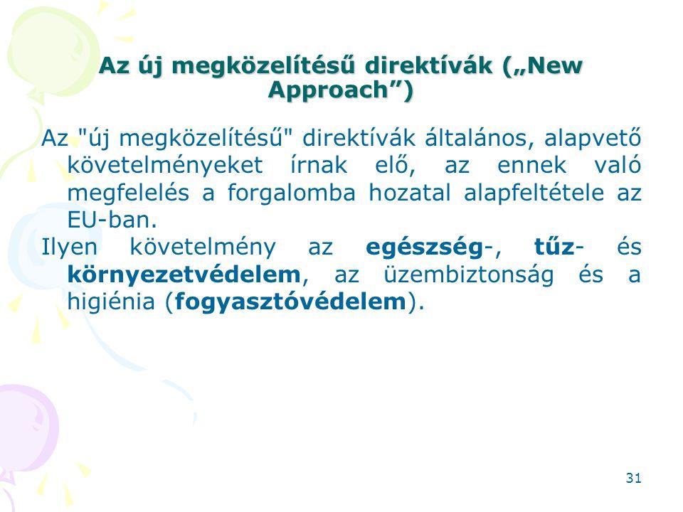 """Az új megközelítésű direktívák (""""New Approach"""") Az"""