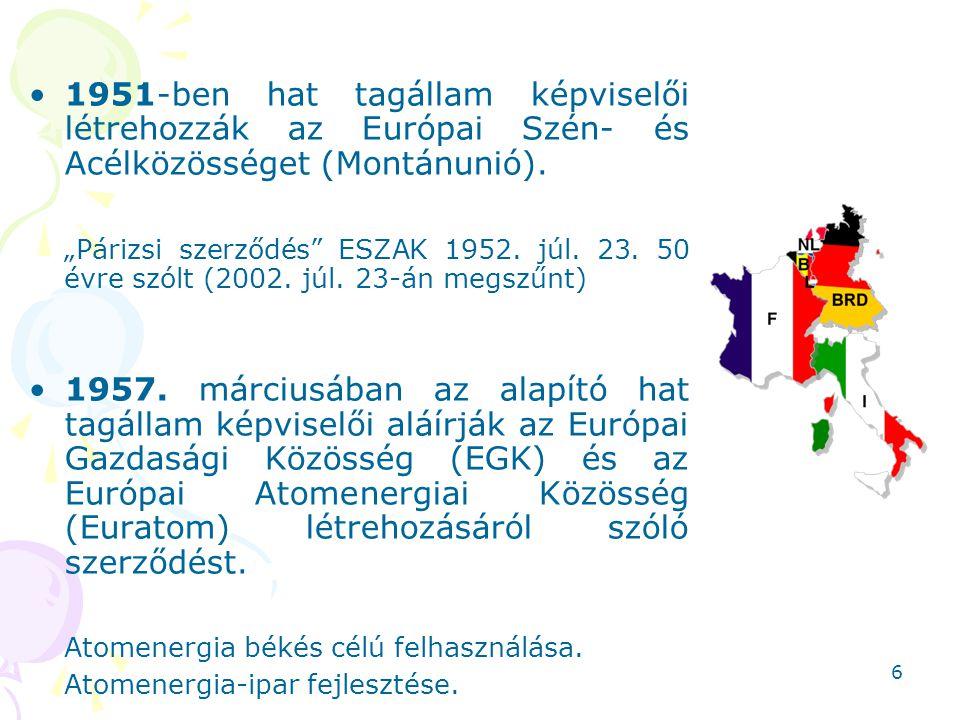 """1951-ben hat tagállam képviselői létrehozzák az Európai Szén- és Acélközösséget (Montánunió). """"Párizsi szerződés"""" ESZAK 1952. júl. 23. 50 évre szólt ("""