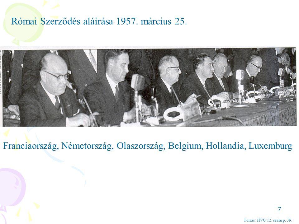Forrás. HVG 12. szám p. 39. Római Szerződés aláírása 1957. március 25. Franciaország, Németország, Olaszország, Belgium, Hollandia, Luxemburg 7