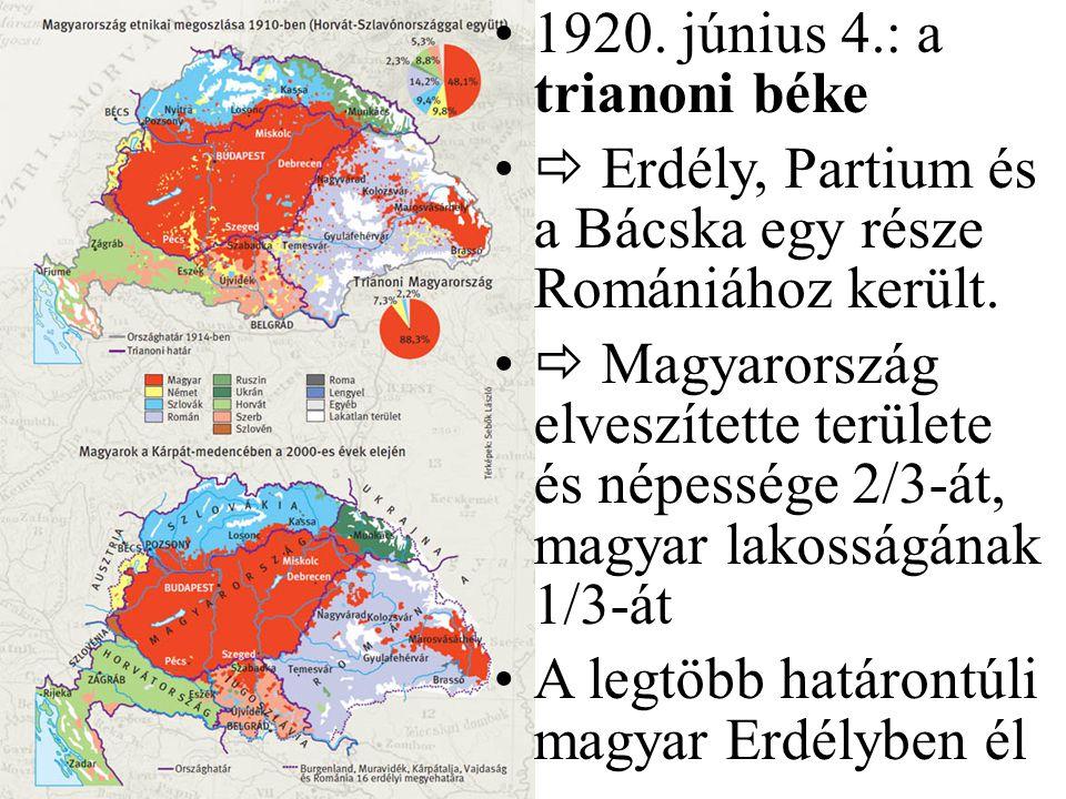 1920. június 4.: a trianoni béke  Erdély, Partium és a Bácska egy része Romániához került.  Magyarország elveszítette területe és népessége 2/3-át,