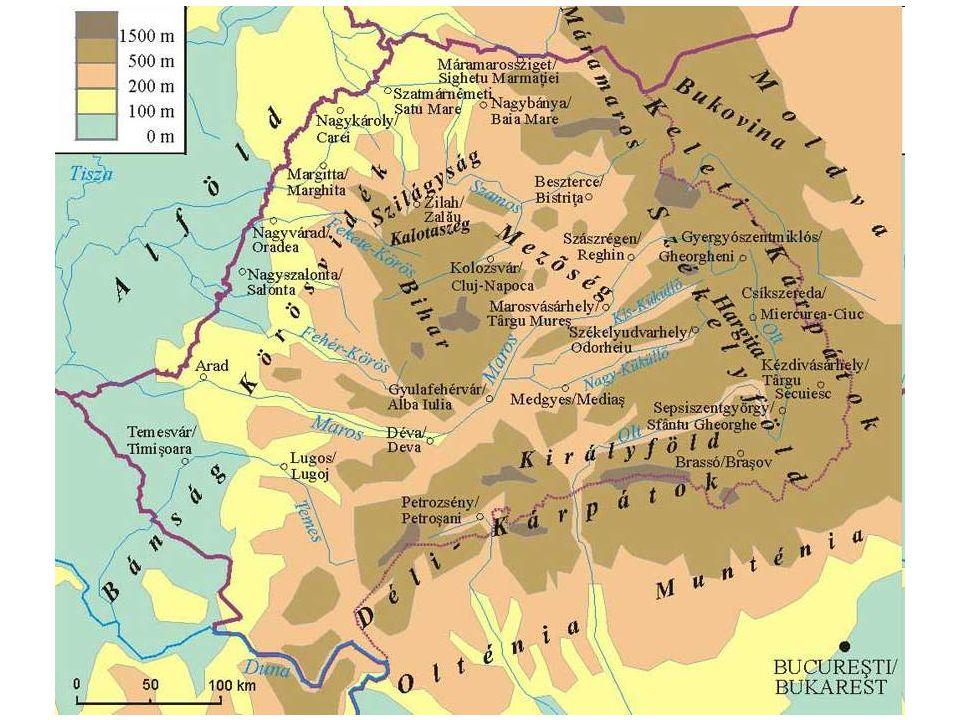 A köztudatban a történelmi Erdélyhez ma hozzászámítják a Kelet- Bánság és a Partium területét Népesség: 4 133 358 / 7 723 313 fő Nyelv: román, regionális nyelv: magyar és a szász Terület: 57 000 / 103 093 km²  Magyarország: 10 millió fő, 93 039 km²