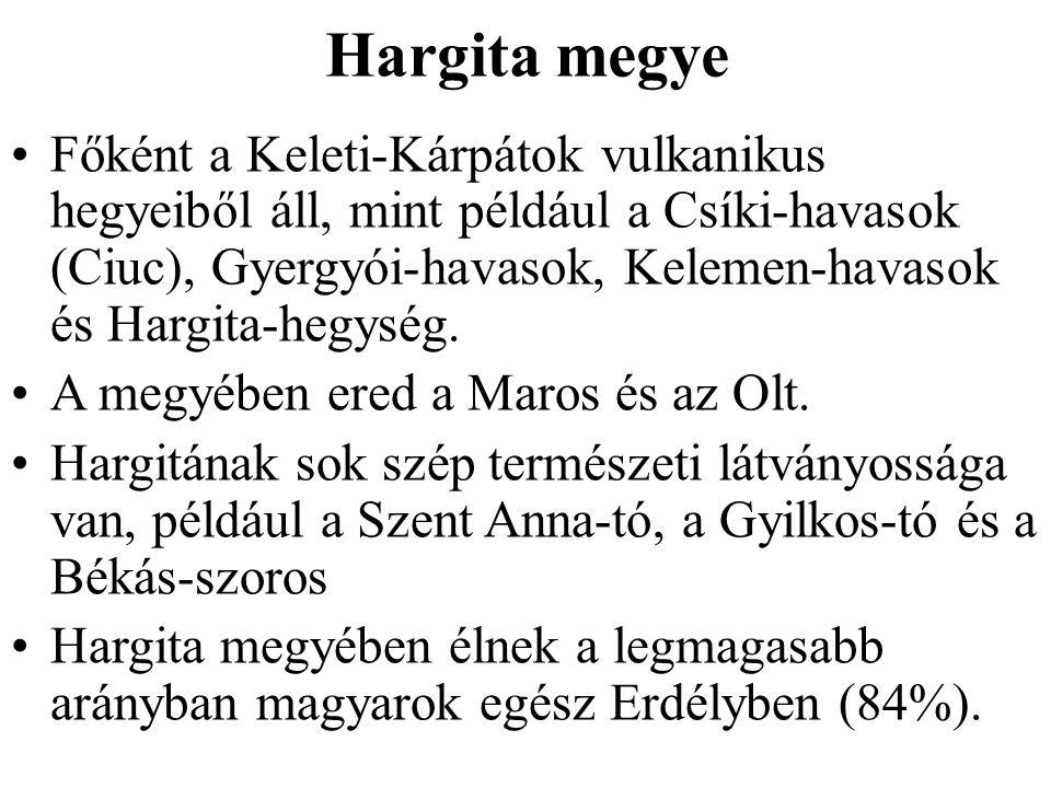 Hargita megye Főként a Keleti-Kárpátok vulkanikus hegyeiből áll, mint például a Csíki-havasok (Ciuc), Gyergyói-havasok, Kelemen-havasok és Hargita-heg