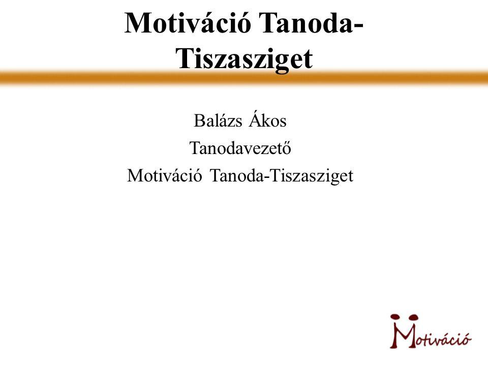 Motiváció Tanoda- Tiszasziget Balázs Ákos Tanodavezető Motiváció Tanoda-Tiszasziget