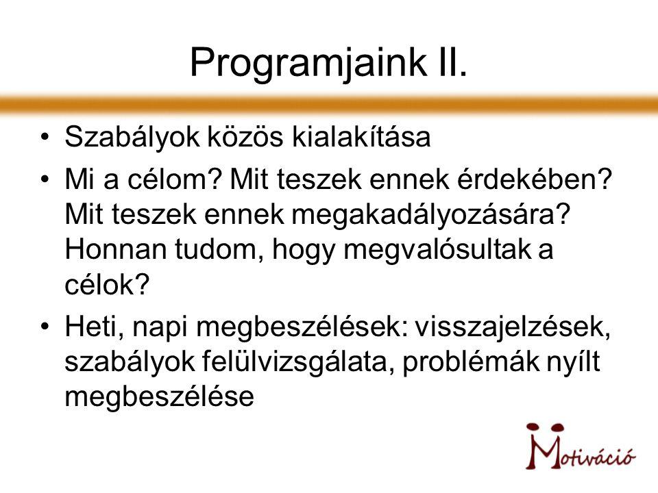 Programjaink II. Szabályok közös kialakítása Mi a célom.