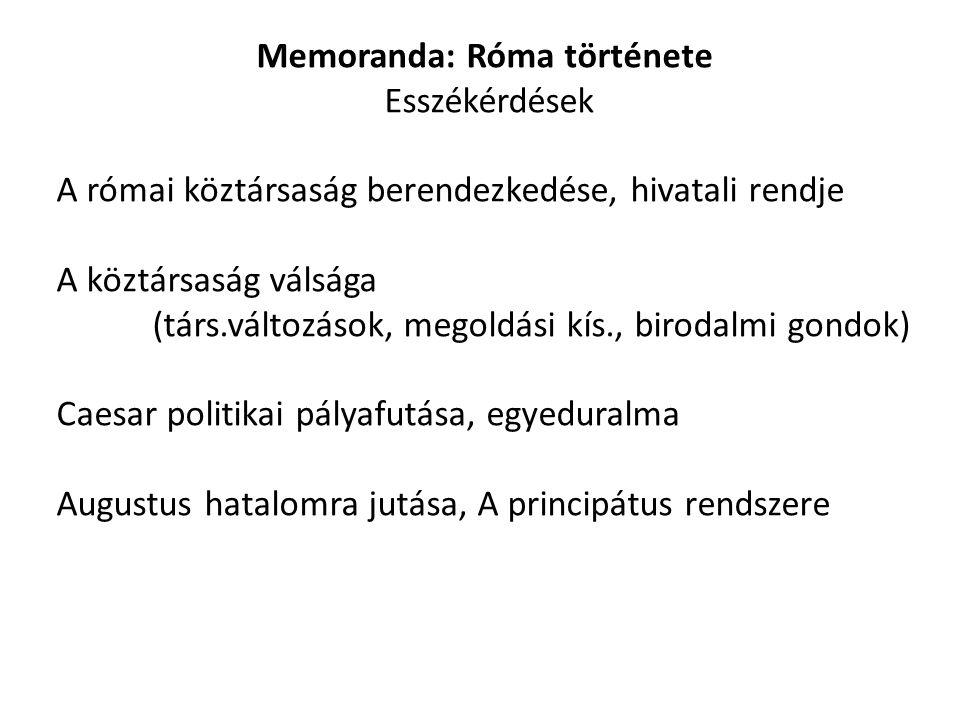 Memoranda: Róma története Esszékérdések A római köztársaság berendezkedése, hivatali rendje A köztársaság válsága (társ.változások, megoldási kís., bi