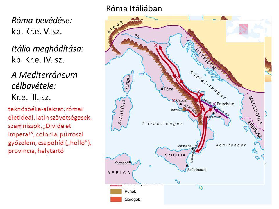 Itália meghódítása: kb. Kr.e. IV. sz. Róma bevédése: kb. Kr.e. V. sz. Róma Itáliában A Mediterráneum célbavétele: Kr.e. III. sz. ? teknősbéka-alakzat,
