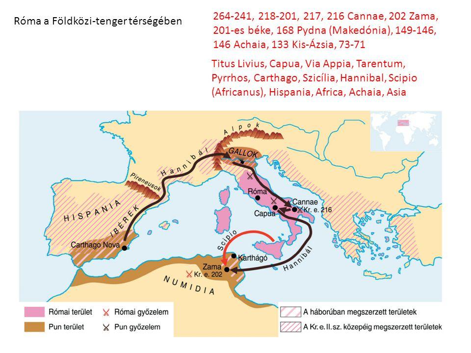 Róma a Földközi-tenger térségében 264-241, 218-201, 217, 216 Cannae, 202 Zama, 201-es béke, 168 Pydna (Makedónia), 149-146, 146 Achaia, 133 Kis-Ázsia,