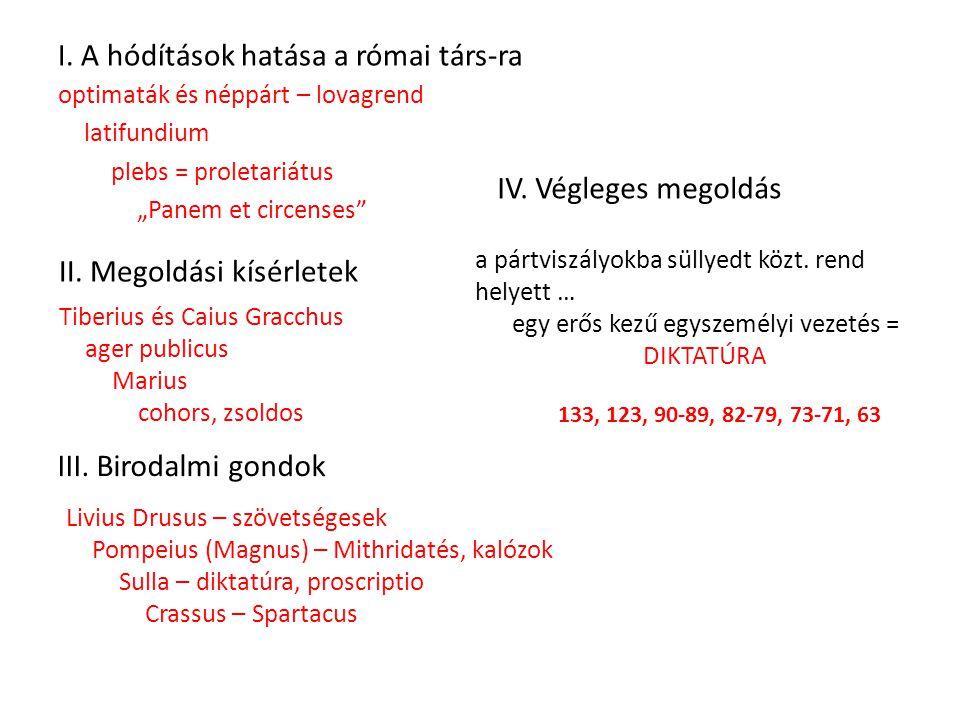 """I. A hódítások hatása a római társ-ra optimaták és néppárt – lovagrend latifundium plebs = proletariátus """"Panem et circenses"""" II. Megoldási kísérletek"""