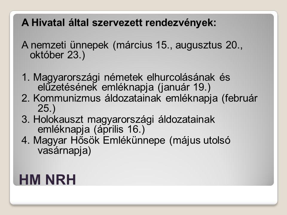 HM NRH A Hivatal által szervezett rendezvények: A nemzeti ünnepek (március 15., augusztus 20., október 23.) 1. Magyarországi németek elhurcolásának és