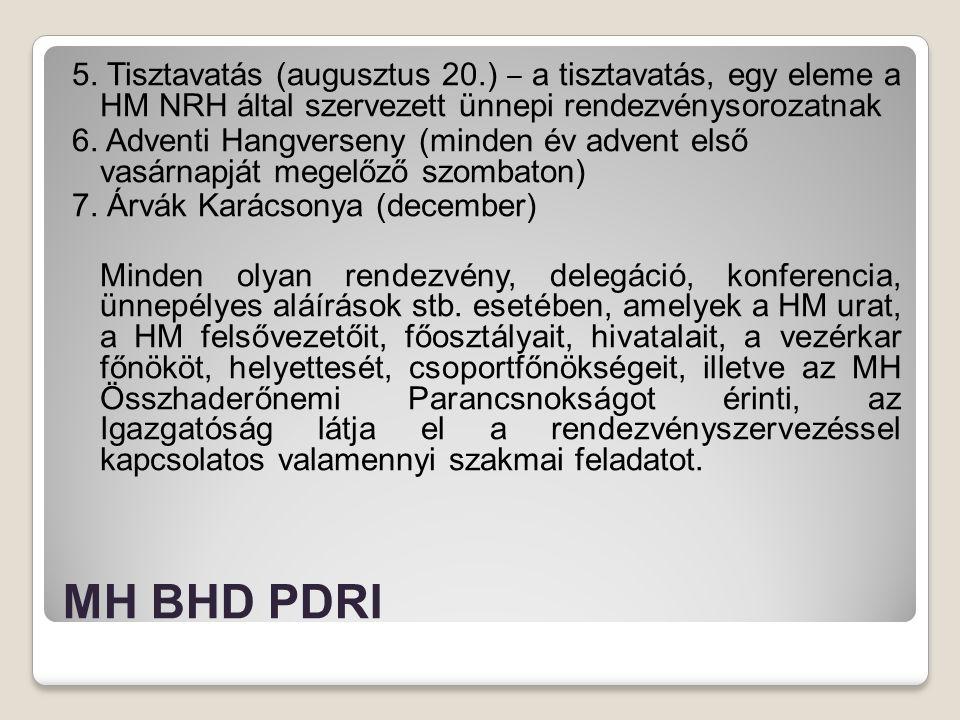 MH BHD PDRI 5. Tisztavatás (augusztus 20.) ‒ a tisztavatás, egy eleme a HM NRH által szervezett ünnepi rendezvénysorozatnak 6. Adventi Hangverseny (mi