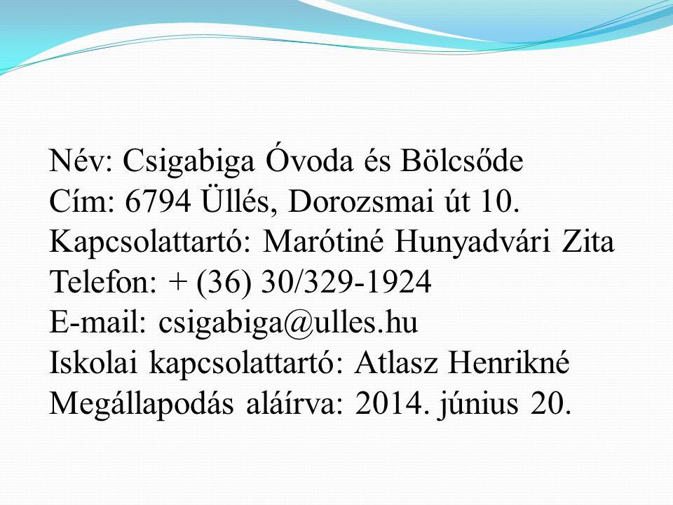 Név: Csigabiga Óvoda és Bölcsőde Cím: 6794 Üllés, Dorozsmai út 10.