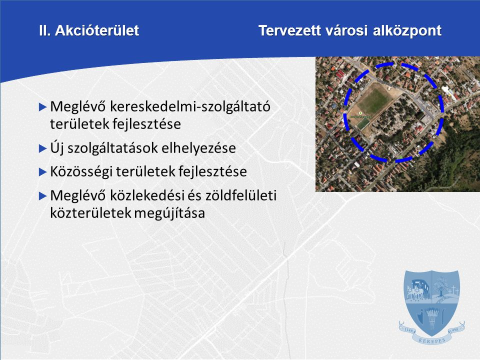 II. Akcióterület Tervezett városi alközpont  Meglévő kereskedelmi-szolgáltató területek fejlesztése  Új szolgáltatások elhelyezése  Közösségi terül