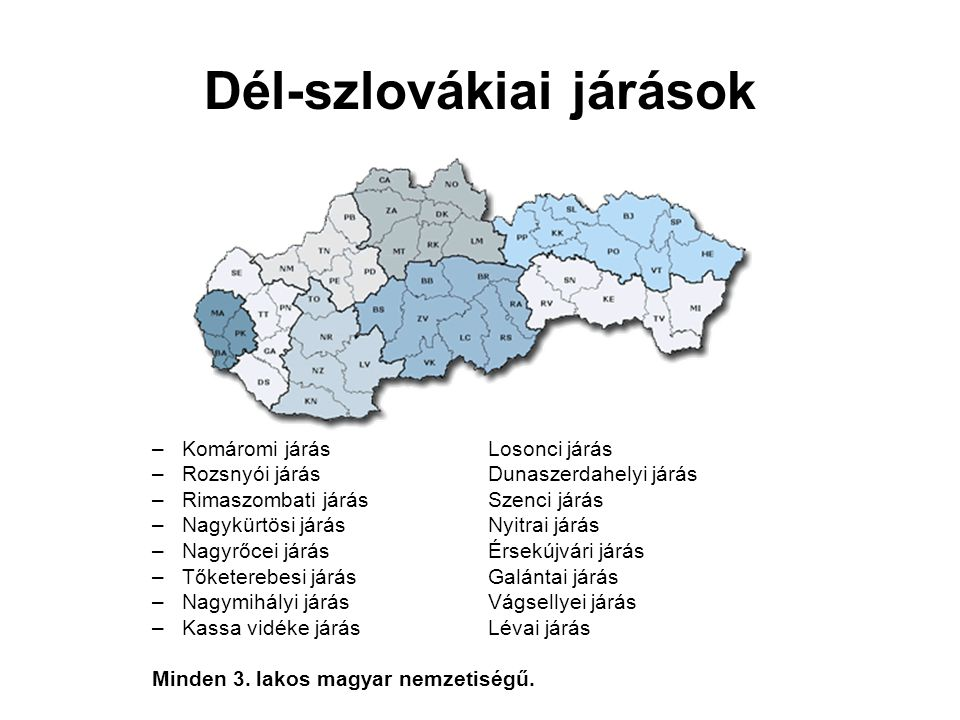 Dél-szlovákiai járások –Komáromi járásLosonci járás –Rozsnyói járásDunaszerdahelyi járás –Rimaszombati járásSzenci járás –Nagykürtösi járásNyitrai jár