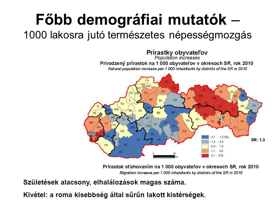 Főbb demográfiai mutatók – 1000 lakosra jutó természetes népességmozgás Születések alacsony, elhalálozások magas száma.