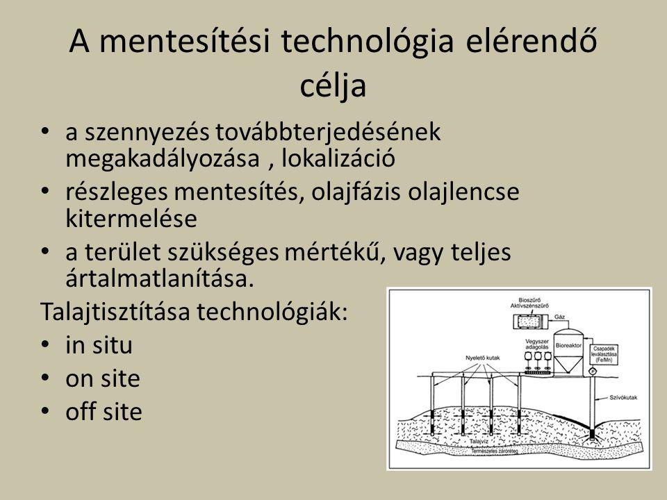 A mentesítési technológia elérendő célja a szennyezés továbbterjedésének megakadályozása, lokalizáció részleges mentesítés, olajfázis olajlencse kiter