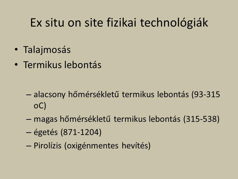 Ex situ on site fizikai technológiák Talajmosás Termikus lebontás – alacsony hőmérsékletű termikus lebontás (93-315 oC) – magas hőmérsékletű termikus