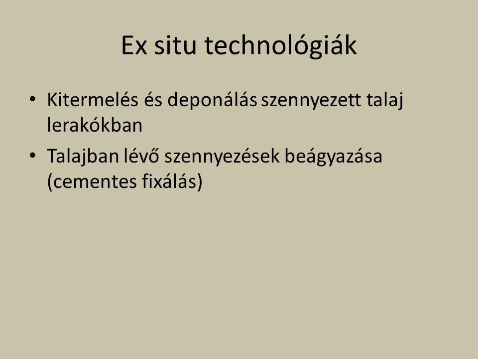 Ex situ technológiák Kitermelés és deponálás szennyezett talaj lerakókban Talajban lévő szennyezések beágyazása (cementes fixálás)