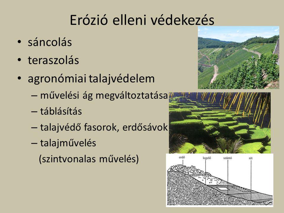 Erózió elleni védekezés sáncolás teraszolás agronómiai talajvédelem – művelési ág megváltoztatása – táblásítás – talajvédő fasorok, erdősávok – talajm