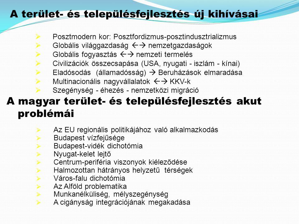  Az EU regionális politikájához való alkalmazkodás  Budapest vízfejűsége  Budapest-vidék dichotómia  Nyugat-kelet lejtő  Centrum-periféria viszonyok kiéleződése  Halmozottan hátrányos helyzetű térségek  Város-falu dichotómia  Az Alföld problematika  Munkanélküliség, mélyszegénység  A cigányság integrációjának megakadása A magyar terület- és településfejlesztés akut problémái A terület- és településfejlesztés új kihívásai  Posztmodern kor: Posztfordizmus-posztindusztrializmus  Globális világgazdaság  nemzetgazdaságok  Globális fogyasztás  nemzeti termelés  Civilizációk összecsapása (USA, nyugati - iszlám - kínai)  Eladósodás (államadósság)  Beruházások elmaradása  Multinacionális nagyvállalatok  KKV-k  Szegénység - éhezés - nemzetközi migráció