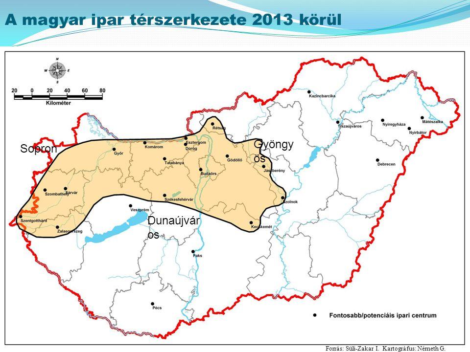 A magyar ipar térszerkezete 2013 körül Forrás: Süli-Zakar I. Kartográfus: Németh G. Gyöngy ös Dunaújvár os Sopron