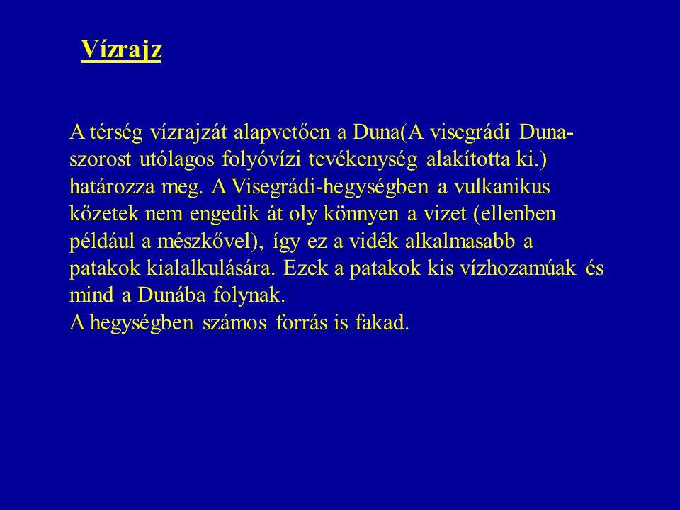 A térség vízrajzát alapvetően a Duna(A visegrádi Duna- szorost utólagos folyóvízi tevékenység alakította ki.) határozza meg. A Visegrádi-hegységben a