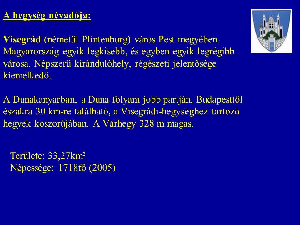 A hegység névadója: Visegrád (németül Plintenburg) város Pest megyében. Magyarország egyik legkisebb, és egyben egyik legrégibb városa. Népszerű kirán