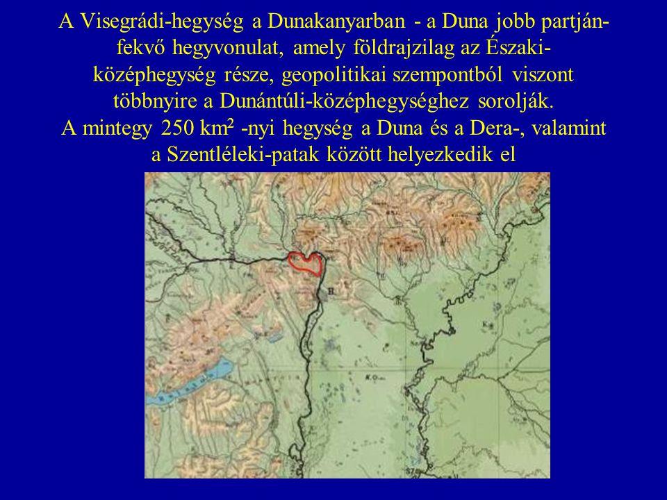 A Visegrádi-hegység szorosan összefekszik a magasabb és jóval kiterjedtebb Pilissel (ezért a turistatérképek is együtt említik) ám kőzeteinek különbözősége révén attól szerkezetileg merőben különbözik (a Pilis jól karsztosodó mészkőből és dolomitból, a Visegrádi-hegység andezitből épül fel).