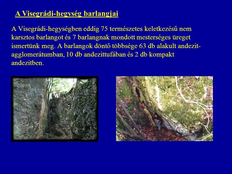 A Visegrádi-hegységben eddig 75 természetes keletkezésű nem karsztos barlangot és 7 barlangnak mondott mesterséges üreget ismertünk meg. A barlangok d