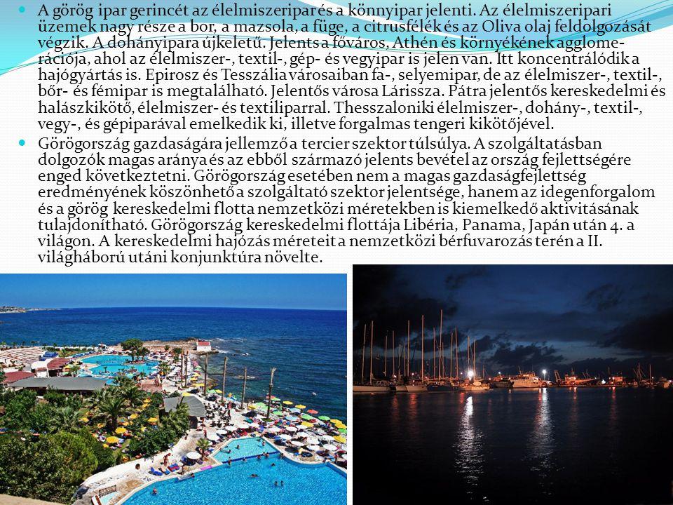 A görög ipar gerincét az élelmiszeripar és a könnyipar jelenti. Az élelmiszeripari üzemek nagy része a bor, a mazsola, a füge, a citrusfélék és az Oli