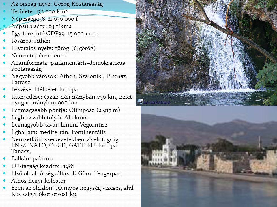 Az ország neve: Görög Köztársaság Területe: 132 000 km2 Népessége38: 11 030 000 f Népsűrűsége: 83 f/km2 Egy főre jutó GDP39: 15 000 euro Főváros: Athé