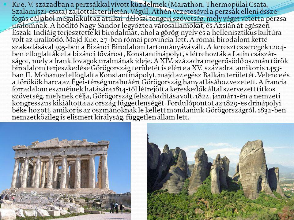 Kr.e. V. században a perzsákkal vívott küzdelmek (Marathon, Thermopülai Csata, Szalamiszi-csata) zajlottak területén. Végül, Athén vezetésével a perzs