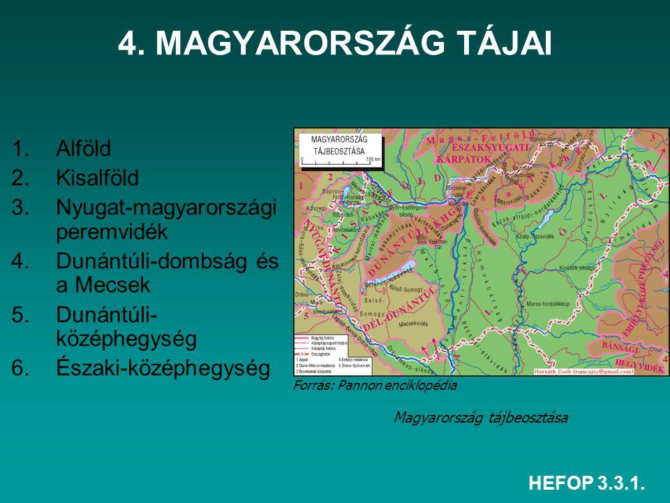 HEFOP 3.3.1. 4. MAGYARORSZÁG TÁJAI 1.Alföld 2.Kisalföld 3.Nyugat-magyarországi peremvidék 4.Dunántúli-dombság és a Mecsek 5.Dunántúli- középhegység 6.