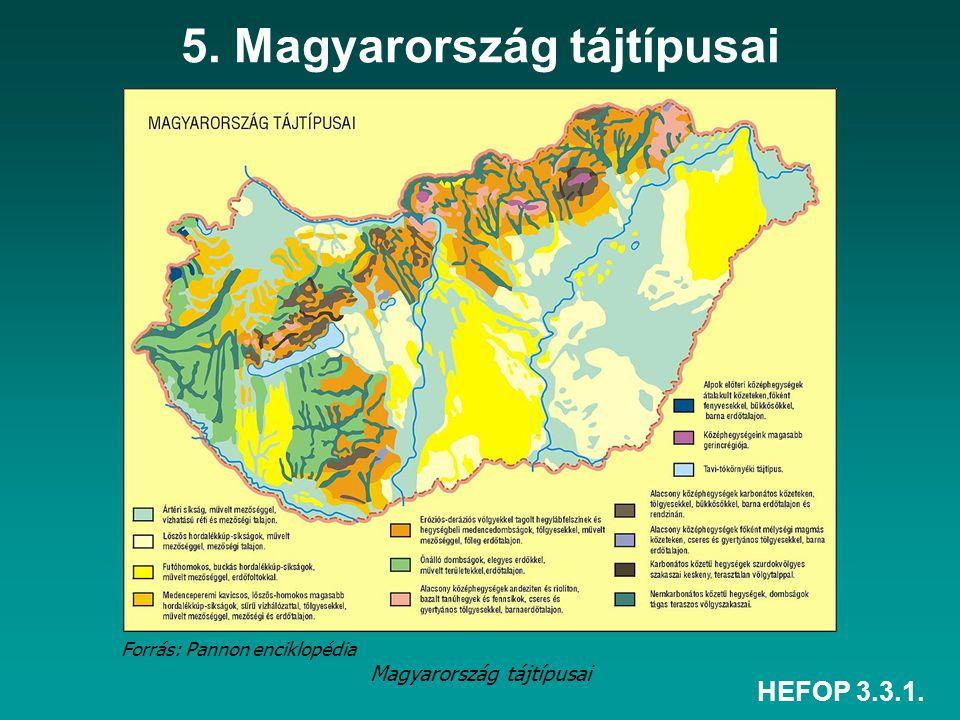 HEFOP 3.3.1. 5. Magyarország tájtípusai Magyarország tájtípusai Forrás: Pannon enciklopédia