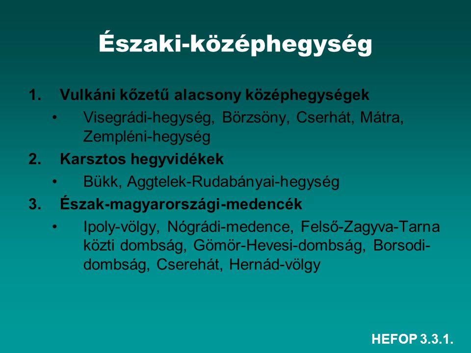 HEFOP 3.3.1. Északi-középhegység 1.Vulkáni kőzetű alacsony középhegységek Visegrádi-hegység, Börzsöny, Cserhát, Mátra, Zempléni-hegység 2.Karsztos heg