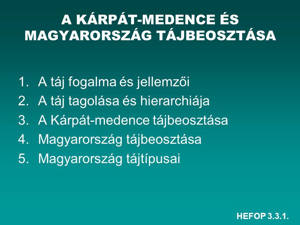 HEFOP 3.3.1. 1.A táj fogalma és jellemzői 2.A táj tagolása és hierarchiája 3.A Kárpát-medence tájbeosztása 4.Magyarország tájbeosztása 5.Magyarország