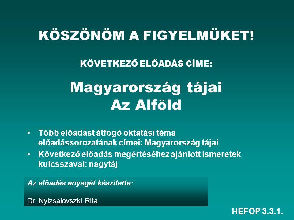 HEFOP 3.3.1. Az előadás anyagát készítette: Dr. Nyizsalovszki Rita KÖSZÖNÖM A FIGYELMÜKET! KÖVETKEZŐ ELŐADÁS CÍME: Magyarország tájai Az Alföld Több e