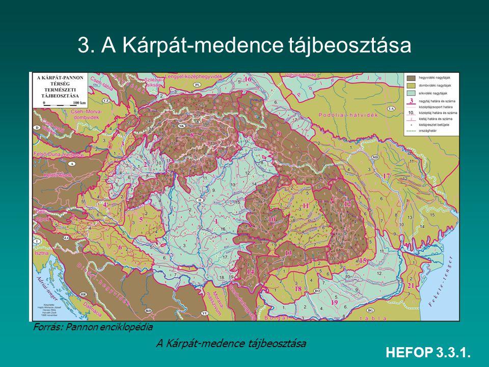 HEFOP 3.3.1. 3. A Kárpát-medence tájbeosztása A Kárpát-medence tájbeosztása Forrás: Pannon enciklopédia