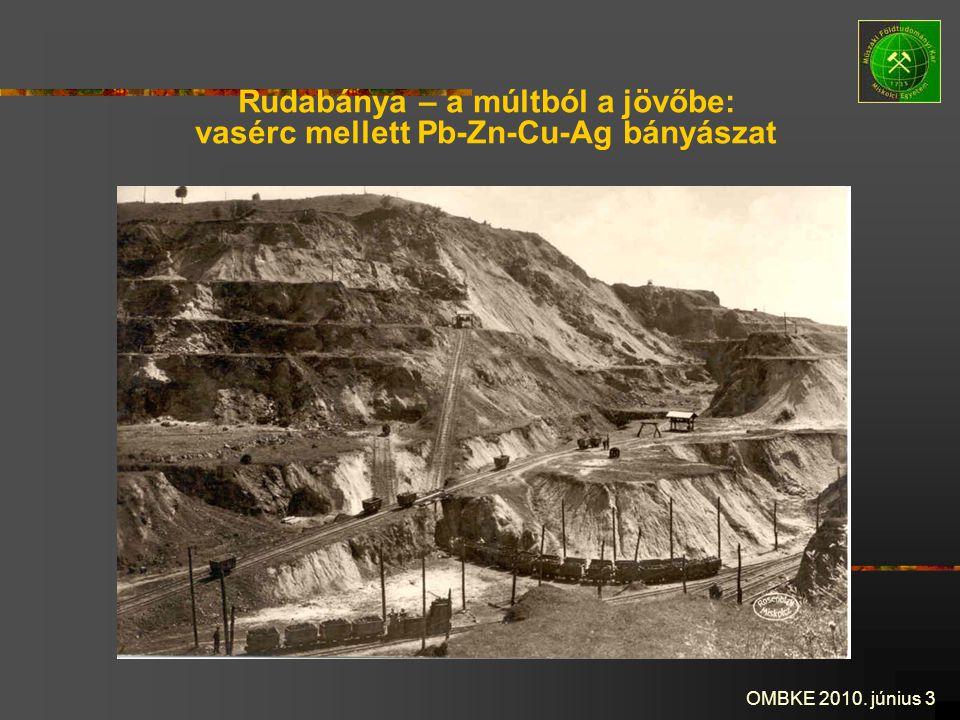 OMBKE 2010. június 3 Rudabánya – a múltból a jövőbe: vasérc mellett Pb-Zn-Cu-Ag bányászat