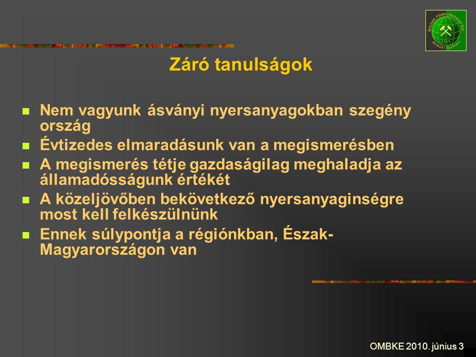 OMBKE 2010. június 3 Záró tanulságok Nem vagyunk ásványi nyersanyagokban szegény ország Évtizedes elmaradásunk van a megismerésben A megismerés tétje