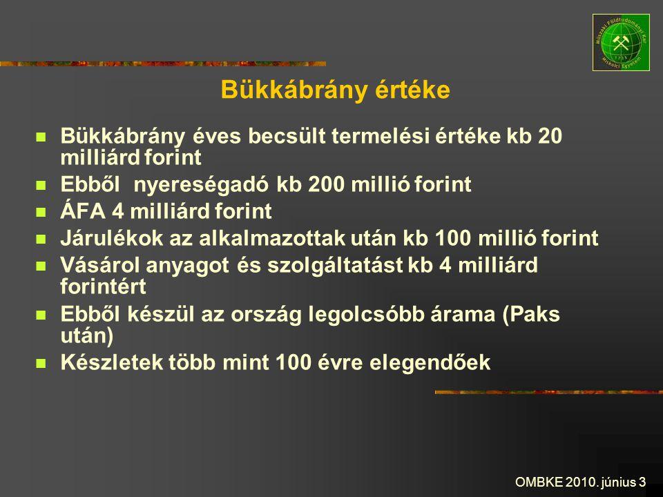 OMBKE 2010. június 3 Bükkábrány értéke Bükkábrány éves becsült termelési értéke kb 20 milliárd forint Ebből nyereségadó kb 200 millió forint ÁFA 4 mil
