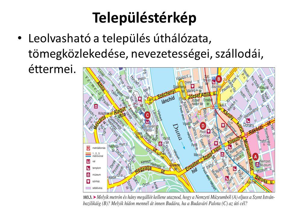 Településtérkép Leolvasható a település úthálózata, tömegközlekedése, nevezetességei, szállodái, éttermei.
