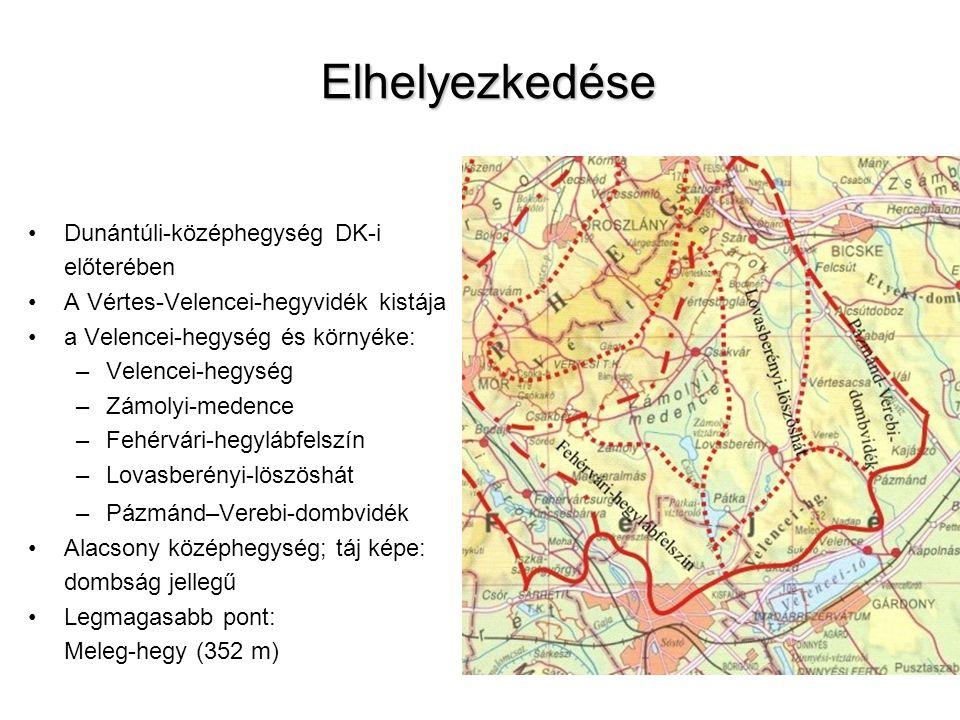 Elhelyezkedése Dunántúli-középhegység DK-i előterében A Vértes-Velencei-hegyvidék kistája a Velencei-hegység és környéke: –Velencei-hegység –Zámolyi-medence –Fehérvári-hegylábfelszín –Lovasberényi-löszöshát –Pázmánd–Verebi-dombvidék Alacsony középhegység; táj képe: dombság jellegű Legmagasabb pont: Meleg-hegy (352 m)