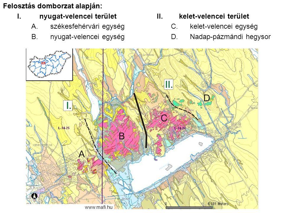 Felosztás domborzat alapján: I.nyugat-velencei terület A.székesfehérvári egység B.nyugat-velencei egység II.kelet-velencei terület C.kelet-velencei eg